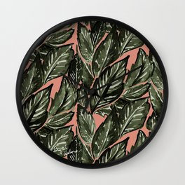 Feathery Leaves - Burnt Orange Olive Wall Clock