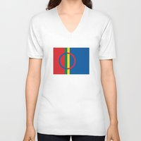scandinavian V-neck T-shirts featuring Sami people ethnic scandinavian Flag by tony tudor