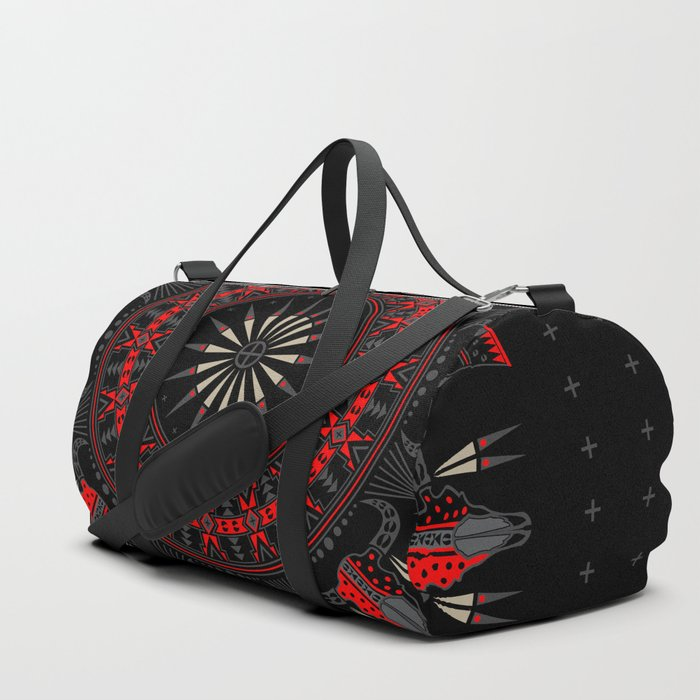 Buffalo Skull and Feathers (Red) Duffle Bag