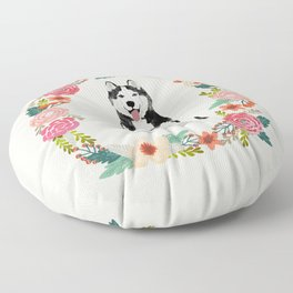 husky floral wreath spring dog breed pet portrait gifts Floor Pillow