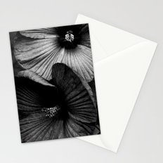 Dramatic Black and White Hibiscus Flowers Macro Stationery Cards
