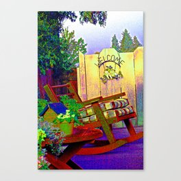 a family welcome to friends Canvas Print