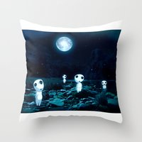 kodama Throw Pillows featuring Princess Mononoke (Kodama) by pkarnold + The Cult Print Shop