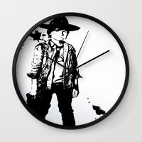 carl sagan Wall Clocks featuring Carl Grimes  by Black And White Store