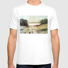 Far away White MEDIUM Mens Fitted Tee