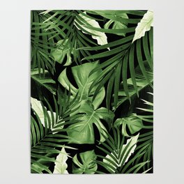 Tropical Jungle Night Leaves Pattern #5 #tropical #decor #art #society6 Poster