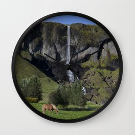 Horse in Iceland Wall Clock