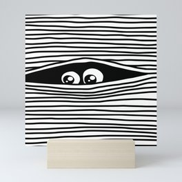 Funny Cartoon Eyes Watching Unseen Mini Art Print