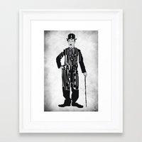 charlie chaplin Framed Art Prints featuring Charlie Chaplin by Ayse Deniz