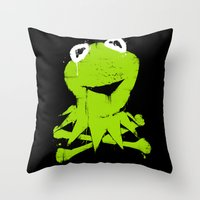 kermit Throw Pillows featuring Pochoir - Kermit by Krikoui