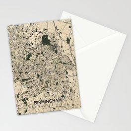 Birmingham City Map of England - Vintage Stationery Cards