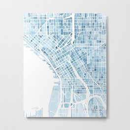 Map Seattle Washington Blueprint watercolor map Metal Print