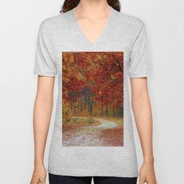 Red Autumn Unisex V-Neck