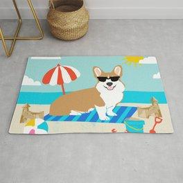 Corgi Summer Beach Day Sandcastles Dog Art Rug