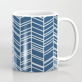 Navy Herringbone Coffee Mug