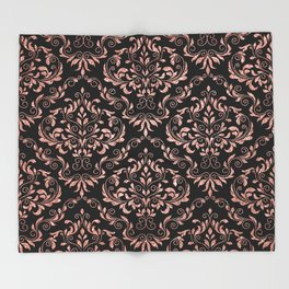 Rose Gold Glitter and Black Damask Throw Blanket