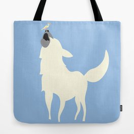 Little White Dog with Bird, Blue Tote Bag
