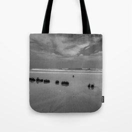 Exposed driftwood structure on Assateague Island (black and white) Tote Bag
