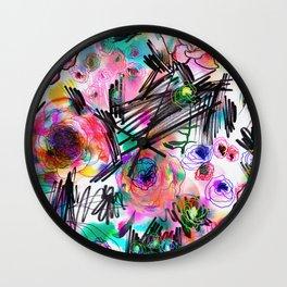 Graffiti flowers Wall Clock