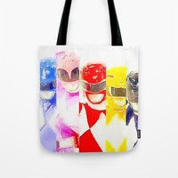 power rangers Tote Bags featuring Power Rangers by americanmikey