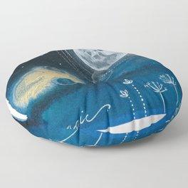 Moon Series #5 Watercolor + Ink Painting Floor Pillow