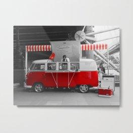 Red Camper Van Metal Print