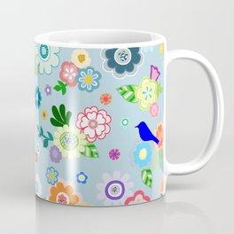 Whimsical Spring Flowers in Blue Coffee Mug