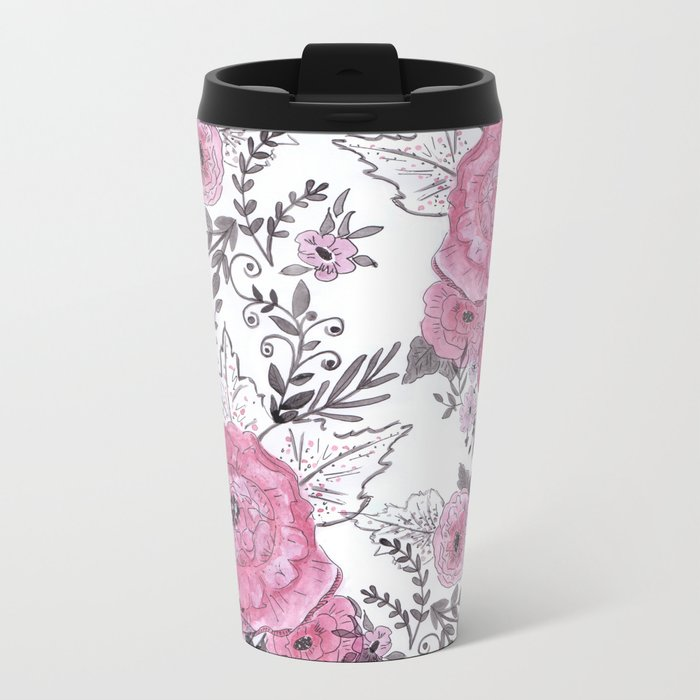 Watercolor roses with black and gray leaves . Travel Mug