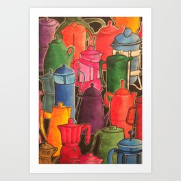 Cafetieres and coffee... Art Print