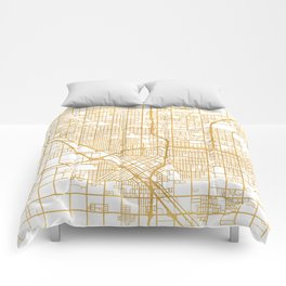FRESNO CALIFORNIA CITY STREET MAP ART Comforters