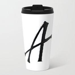 Letter A Ink Monogram Travel Mug