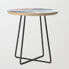 Pastel Blush, Grey and Blue Ink Clouds Painting Side Table