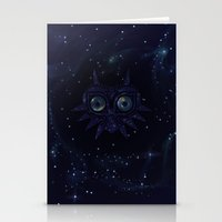 majoras mask Stationery Cards featuring Majora's mask galaxy by Pocketmoon designs