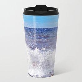 Wave Crashing onto the Beach Travel Mug