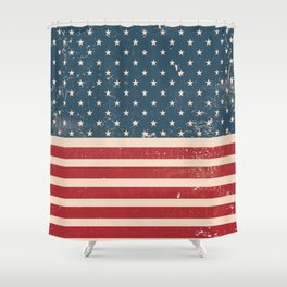 Vintage Distressed American Flag Shower Curtain