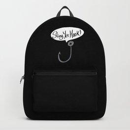 Sling Yer Hook Funny Slogan Cartoon Backpack