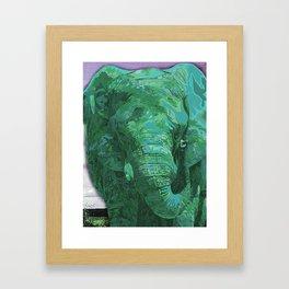 Light green painted Elephant art Framed Art Print