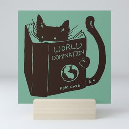 World Domination for Cats (Green) Mini Art Print