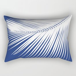 Palm Leaf Silhouette, Navy Blue and White Rectangular Pillow