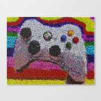 xbox Canvas Prints featuring XBOX 360 Video Game Controller M&Ms Candy mosaic by Paul Van Scott