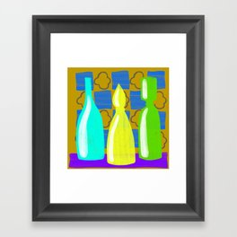 Moroccan Bottles with mustard wall Framed Art Print