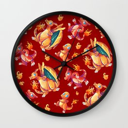 Charizard line red version Wall Clock