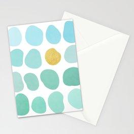 Aqua Pebbles & gold Stationery Cards