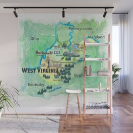 USA West Virginia State Travel Poster Map mit touristischen Highlights Wall Mural