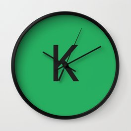 Letter K Initial Monogram - Black on Nephritis Wall Clock