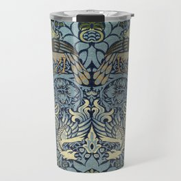 Woven woollen fabric Peacock and Dragon by William Morris Travel Mug
