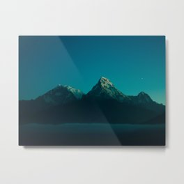 Magical Blue Mountains Star Night Sky Ombre Sunset Metal Print