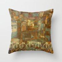 karu kara Throw Pillows featuring Adventure up! by Klara Acel