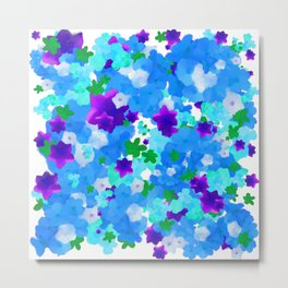 Bright Floral Pattern with Girly Flowers in Preppy Blue and Purple Metal Print