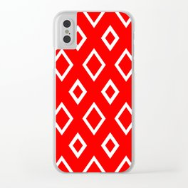 Abstract geometric pattern - red and white. Clear iPhone Case